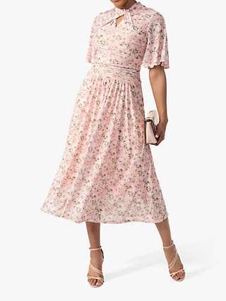 Jolie Moi Tina Floral Print Twisted Neck Mesh Midi Dress, Apricot