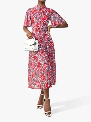 Jolie Moi Tina Floral Print Twisted Neck Mesh Midi Dress, Red/Multi