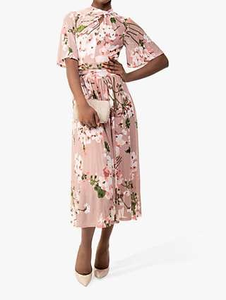 Jolie Mois Tina Floral Mesh Dress, Dusty Pink