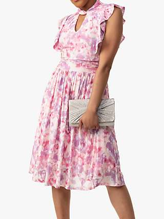 Jolie Moi Emily Abstract Floral Print Ruffle Dress, Pink