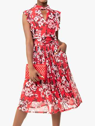 Jolie Moi Emily Floral Print Ruffle Dress, Red