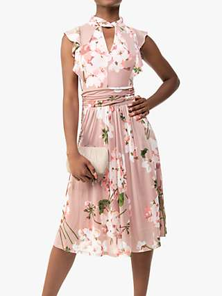 Jolie Moi Emily Floral Print Ruffle Dress, Berry