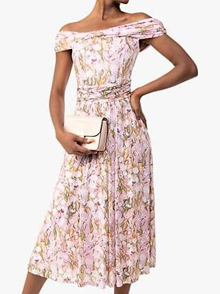 Jolie Moi Kiara Floral Print Bardot Dress, Light Pink