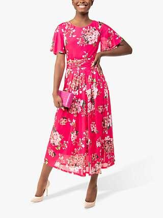 Jolie Moi Julita Floral Blossom Print Mesh Dress, Berry