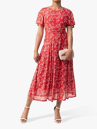 Jolie Moi Julita Ditsy Floral Print Mesh Dress, Red