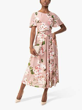 Jolie Moi Julita Floral Print Mesh Dress, Pink