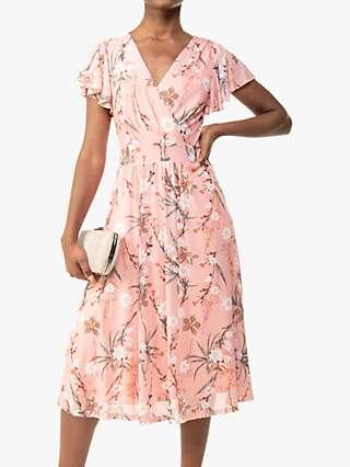 Jolie Moi Stacy Floral Botanical Print Wrap Neck Midi Dress, Peach/Multi