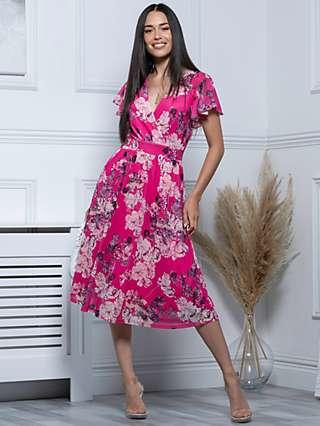 Jolie Moi Stacy Floral Print Wrap Neck Midi Dress, Cerise