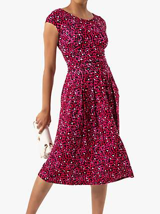 Jolie Moi Shanaz Animal Print Ruched Waist Dress, Pink