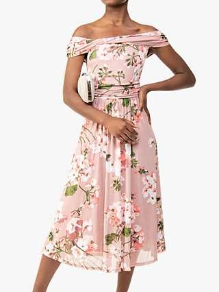 Jolie Moi Paula Floral Print Mesh Bardot Dress, Dusky Pink