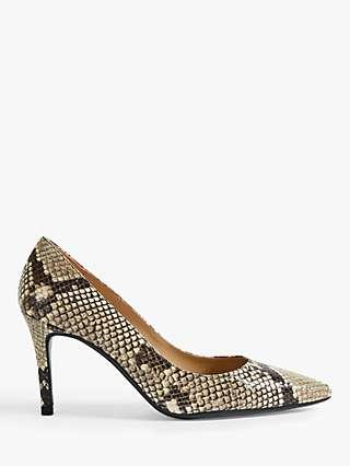 Ted Baker Alesiya Leather Snakeskin Print Court Shoes
