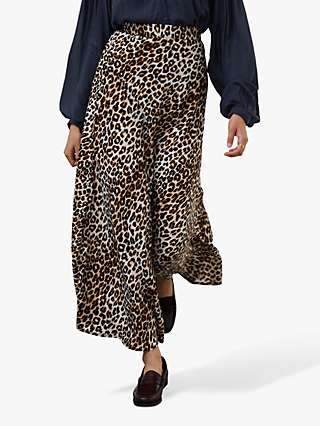 Lollys Laundry Mio Leopard Print Skirt, Brown