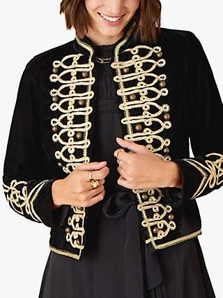 Monsoon Military Braided Trim Velvet Jacket, Black