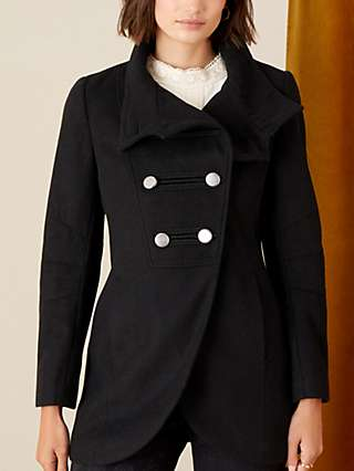 Monsoon Lizzie Mid Length Pea Coat, Black