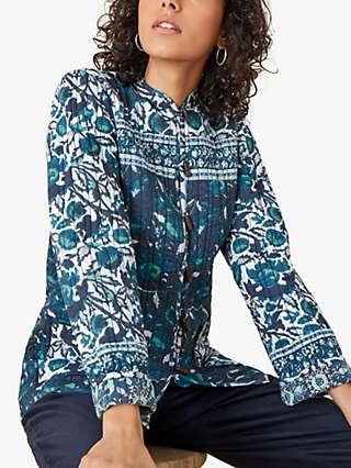 Monsoon Woodblock Floral Print Jacket, Teal