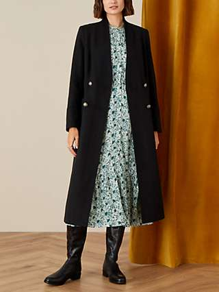 Monsoon Joey Double Breasted Long Coat, Black
