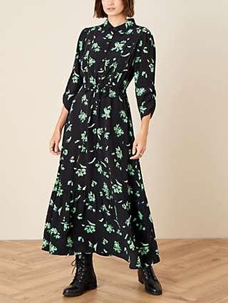 Monsoon Floral Print Embellished Maxi Dress, Black