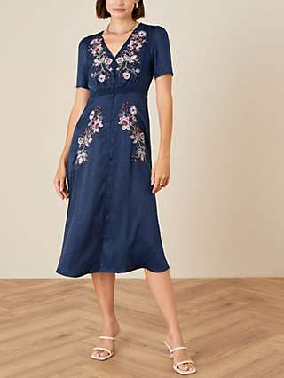 Monsoon Floral Embroidered Jacquard Midi Dress, Navy