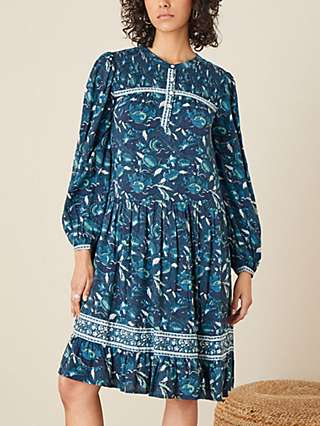 Monsoon Woodblock Floral Print Dress, Teal