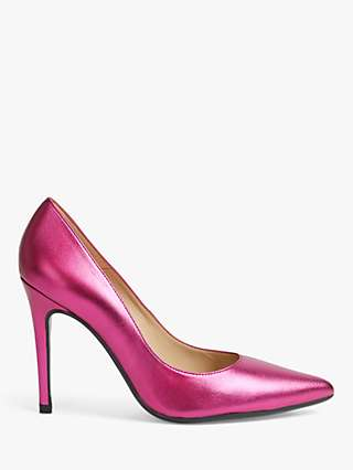 Ted Baker Malikaa Metallic Leather Court Shoes, Bright Pink