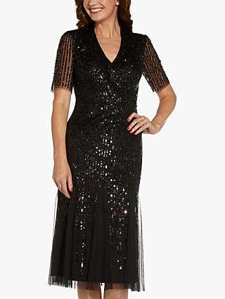 Adrianna Papell Beaded Midi Dress, Black