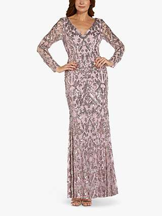 Adrianna Papell Stretch Sequin Embroidery Maxi Dress, Smoky Rose/Multi