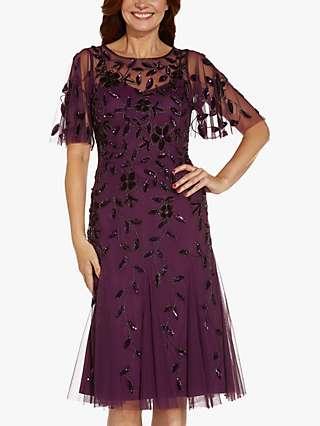 Adrianna Papell Beaded Midi Dress, Cassis