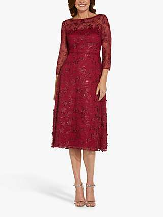 Adrianna Papell Sequin Embroidery Midi Dress, Red