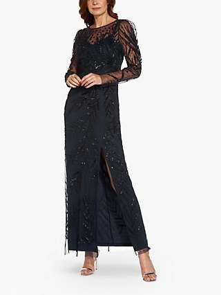 Adrianna Papell Leaf Beaded Maxi Dress, Midnight/Black