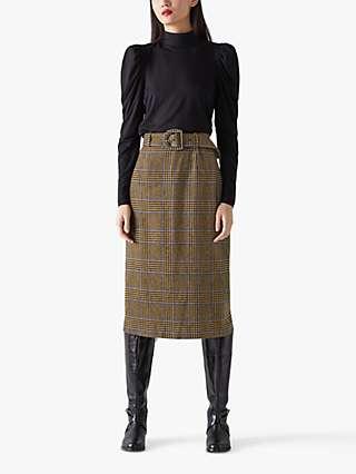 L.K.Bennett Gabriel Check Wool Blend Belted Skirt, Brown/Multi