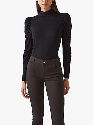 L.K.Bennett Cora Puff Sleeve Jersey Top, Black