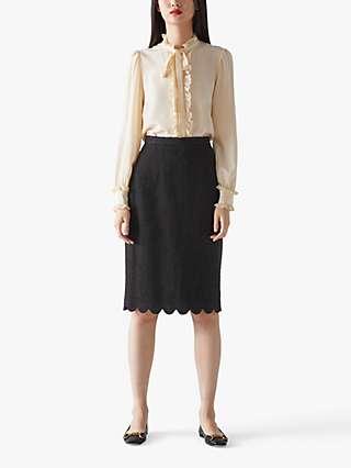 L.K.Bennett Venice Textured Pencil Skirt, Black