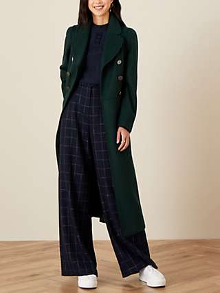 Monsoon Samantha Double Breasted Coat, Green