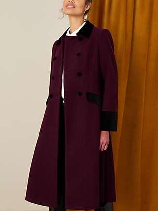 Monsoon Wool Blend Velvet Trim Tailored Coat, Berry