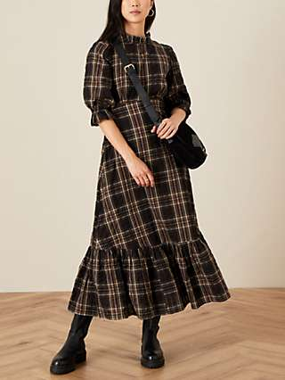 Monsoon Check Tiered Hem Midi Dress, Black/Multi
