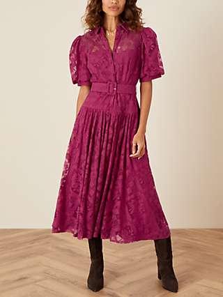 Monsoon Leila Lace Midi Shirt Dress, Berry