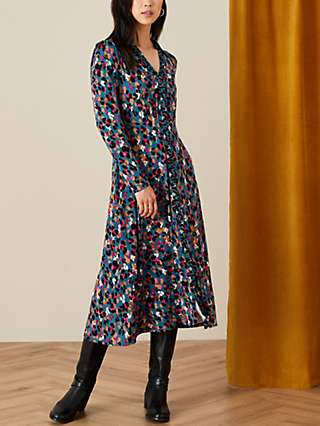 Monsoon Aria Animal Print Midi Dress, Teal/Multi