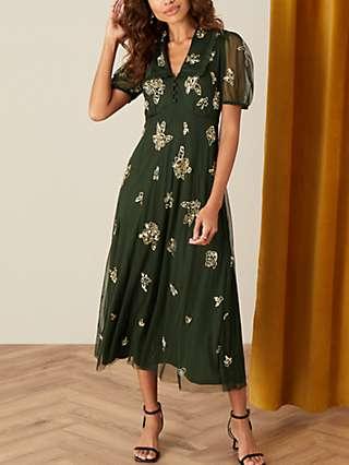 Monsoon Lauren Embellished Midi Dress, Olive