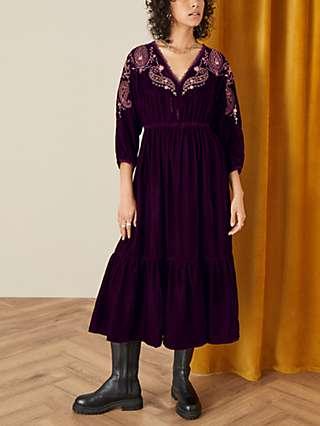Monsoon Peya Paisley Embroidered Velvet Midi Dress, Berry