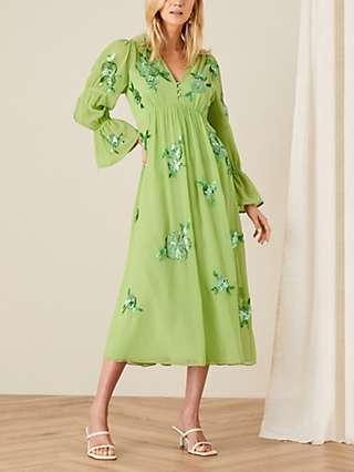 Monsoon Helena Sequin Floral Midi Dress, Green