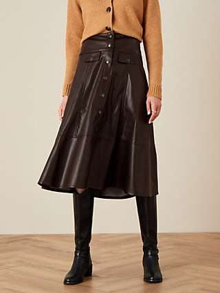 Monsoon Faux Leather Buttoned Front Midi Skirt, Chocolate