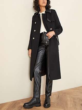 Monsoon Anne Military Coat, Black