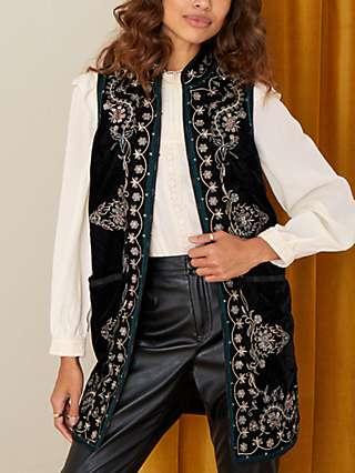 Monsoon Embroidered Velvet Sleeveless Jacket, Black