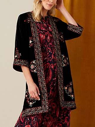 Monsoon Velvet Embroidered Kimono Jacket, Black