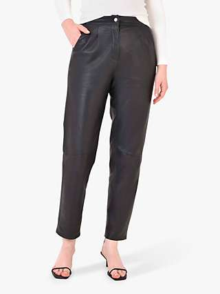 Ro&Zo Leather Tapered Leg Trousers, Black