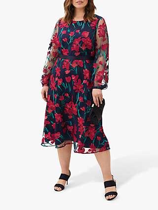 Studio 8 Lottie Embroidered Floral Dress, Navy/Multi