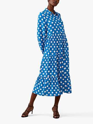 Finery Jessa Large Polka Dot Midi Shirt Dress, Blue