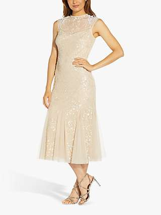 Adrianna Papell Floral Beaded Dress, Alabaster