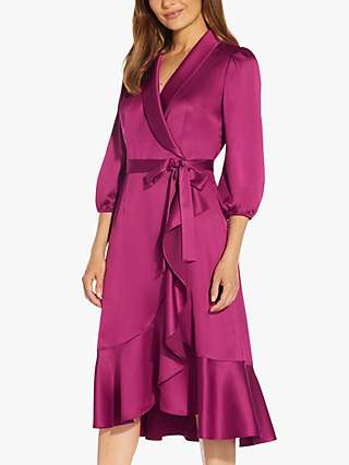 Adrianna Papell Satin Crepe Wrap Dress, Plum Red
