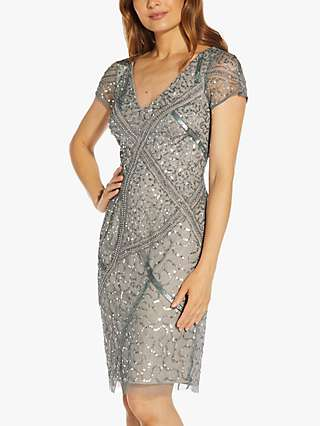 Adrianna Papell Beaded Short Dress, Pewter/Silver